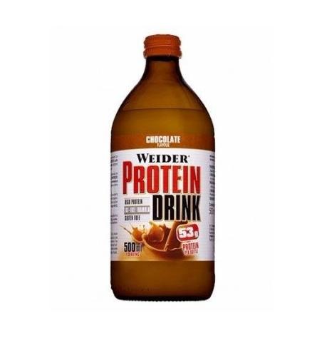 Weider Protein Drink 500ml Chocolate es un batido de proteína lactea con 53gr netos.